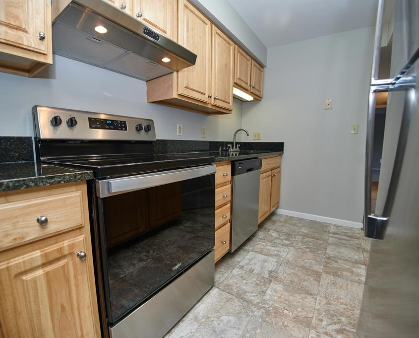 Kitchen Detail with Stainless Steel Appliances at St. Clair Woods Apartments
